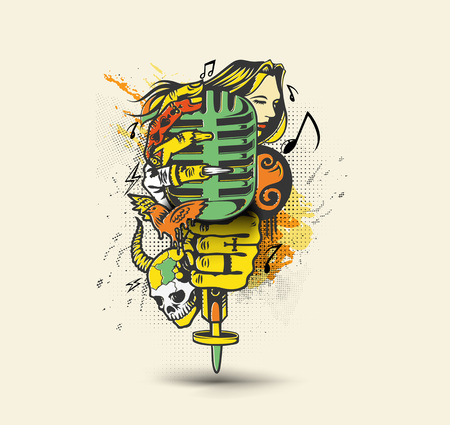 Woman hand holding microphone, vector illustration.