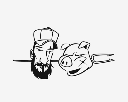 Happy Pig Chef Head Cartoon