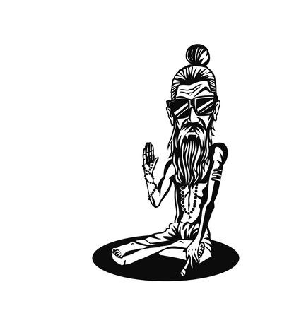 Yogi, Funky baba - Illustration for the Day Of Honoring Celebration Guru Purnima. Vector Illustration