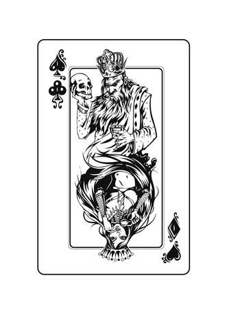 Juegos de casino: naipes de póquer, ilustración de Vector de boceto dibujado a mano.
