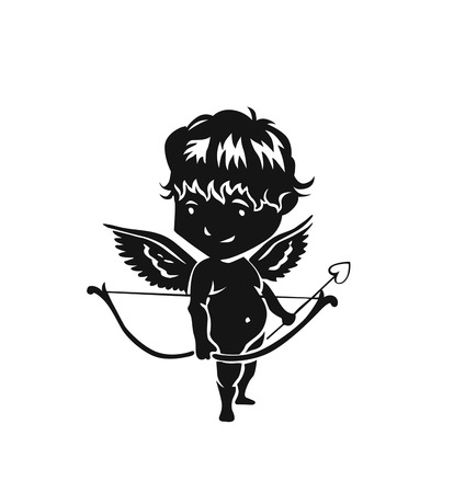 Angels with arrows and bow. Vector hand drawn illustration.