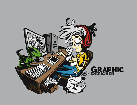 Graphic designers working at desk, Peel off sticker Ilustração