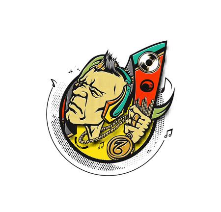 Dj man playing tunes, vector illustration.