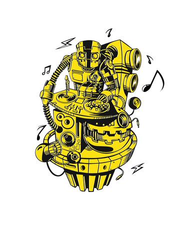 Robot party concept design for t-shirt print, vector illustration. Ilustração