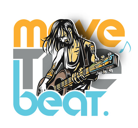 Rockstar guy playing guitar with text move the beat, vector illustration. Иллюстрация