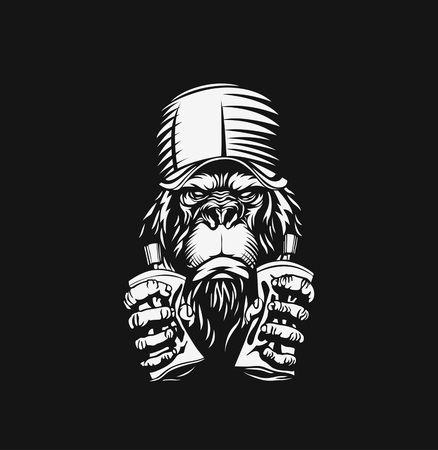Monkey with cap for t-shirt print, vector illustration