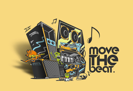 Musical instruments with text move the beat