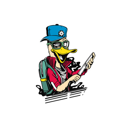 Duck thief cartoon holding knife in his hand concept for t-shirt print Illustration