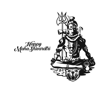 Lord Shiva - Happy Maha Shiwaratri  Poster, Hand Drawn Sketch 向量圖像