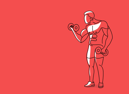 Muscular Man Workout with Barbell Sport and Activity Line art Drawing