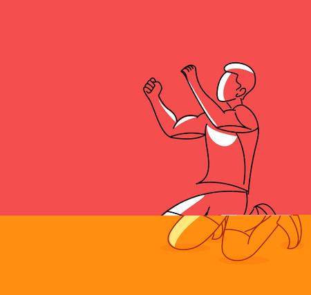 Soccer Player Celebrating - Line Art Design, Vetcor Illustration. 向量圖像