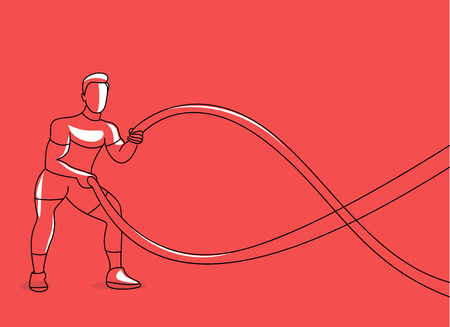 Strong bodybuilder sportsman man with battle rope doing exercise in functional training fitness gym, Flat Line Art Design.