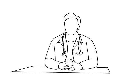 Doctor - Medical Icon, Line Art Design Vector Background.