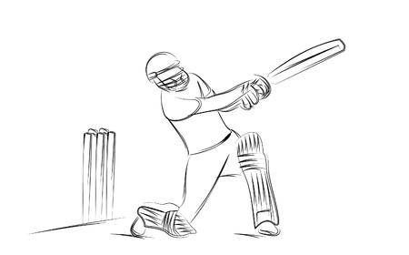 Concept of Batsman playing cricket - championship, Line art design Vector illustration
