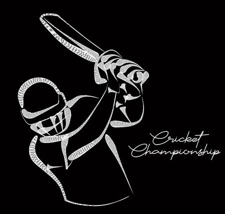 Concept of Batsman playing cricket - championship, Line art design Vector illustration. Vector Illustration