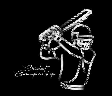 Concept of Batsman playing cricket - championship, Line art design Vector illustration. Ilustração