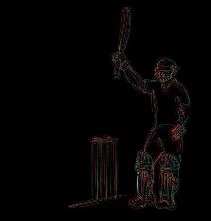 Concept of Batsman playing cricket & Celebrate century - championship, Line art design Vector illustration. Illustration