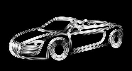 Diseño de arte de línea de vector de icono de coche. Ilustración vectorial.