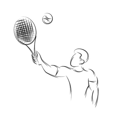 Silhouette of a tennis player. Text and background Design.