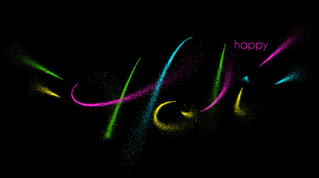 Holi colorful calligraphic lettering poster. Colorful hand written font with paintink splatters.
