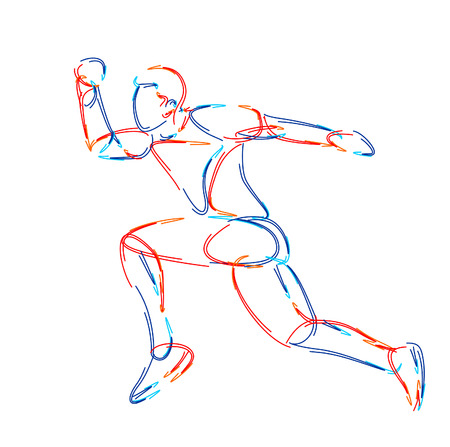Athletic man practicing lomg jump in track and field, 3d Color line art ( RGB ) vector illustration.