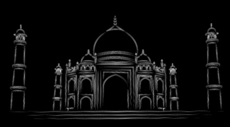 Taj Mahal Hand Drawn, India Agra - Particle art vector illustration. Ilustração