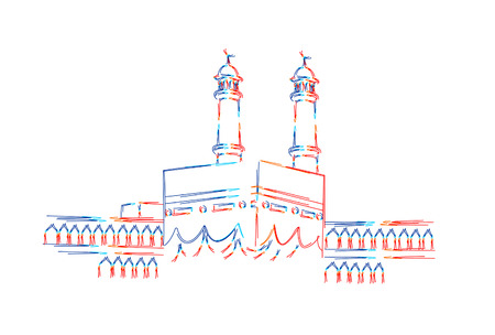 Holy Kaaba in Mecca Saudi Arabia, 3d Color line art ( RGB ) vector illustration.