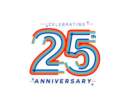 25th Years Anniversary Celebration Design. 3d Color line art ( RGB ) vector illustration. Vecteurs