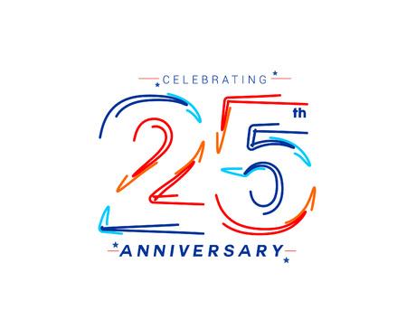 25th Years Anniversary Celebration Design. 3d Color line art ( RGB ) vector illustration.