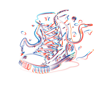 Hipster sneakers in hand drawn graphic, 3d Color line art ( RGB ) vector illustration.