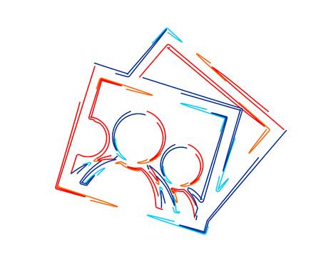 Photo square frame. 3d Color line art ( RGB ) vector illustration.