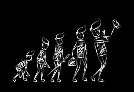 Cycle de vie humain à différents siècles, illustration vectorielle de dessin animé dessiné à la main.