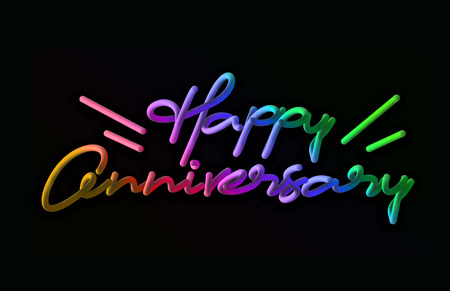 Happy Anniversary Calligraphic 3d Pipe Style Text Vector illustration Design