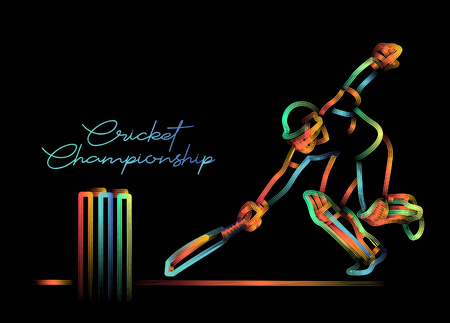 Concept of Batsman run out - cricket championship, 3d Color line art ( RGB ) vector illustration. 矢量图像