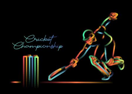Concepto de Batsman agotado - campeonato de cricket, ilustración de vector de arte de línea de color 3d (RGB).
