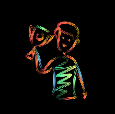 Men holding up winning trophy, 3d Color line art ( RGB ) vector illustration.