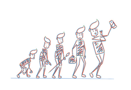 Human life cycle at different centuries, Cartoon Hand Drawn Sketch Vector illustration.