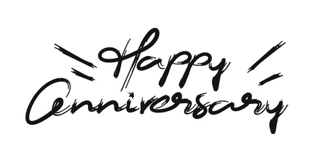 Happy Anniversary Calligraphic Modern Font Style Text Vector illustration Design. Vectores