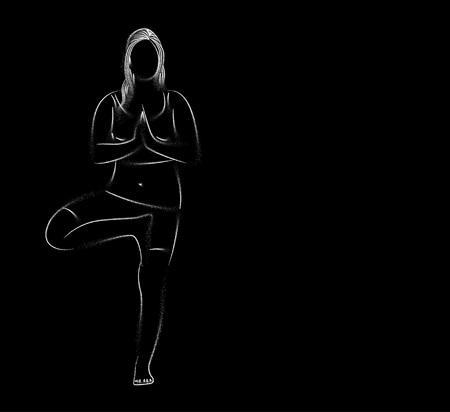 Woman practicing yoga pose, 21st june international yoga day, Particle art Design.