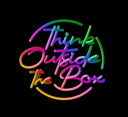Think Outside The Box Calligraphic 3d Pipe Style Text Vector illustration Design