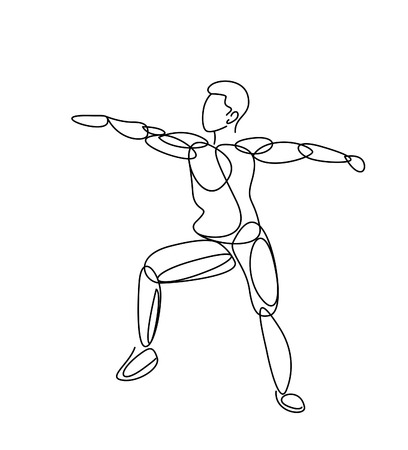 Sport and activity line drawing, Single line art vector illustration.