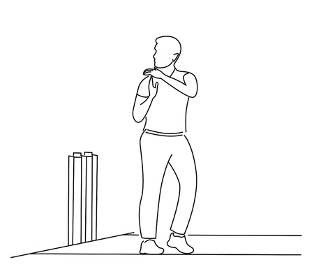 Cricketer Want Review - single line art drawing.