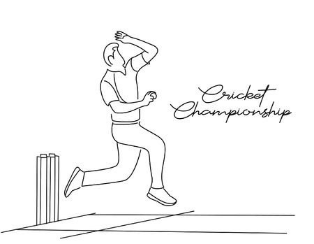 Bowler bowling in cricket championship sports. Line Art design - Vector Illustration. Ilustração