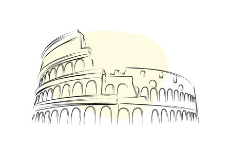Colosseum in Rome - Line art vector illustration.