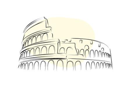 Colosseum in Rome - Line art vector illustration.