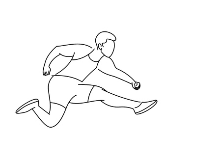 Athletic man practicing long jump in track and field, vector illustration.  イラスト・ベクター素材