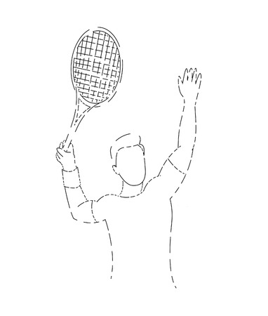 Modern Passionate Badminton Player In Action - Lline art vector illustration.