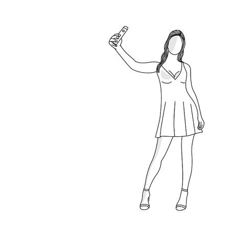 Belle jeune femme caucasienne tenant un téléphone portable, posant pour la conception de vecteur art ligne plate selfie. Vecteurs