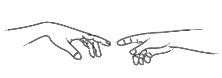 Lose up of human hands touching with fingers, vector illustration. Vectores