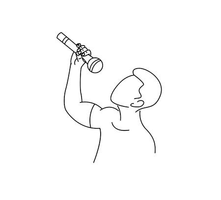Rockstar singer Icon, Flat Line art Vector Design.